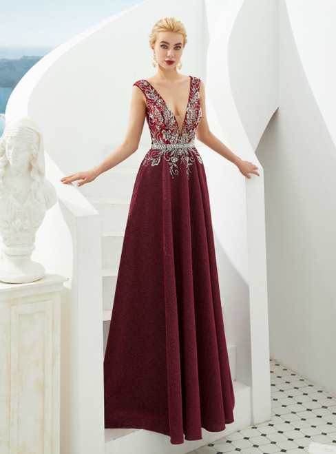 A-Line Burgundy Satin V-neck Backless Beading Prom Dress