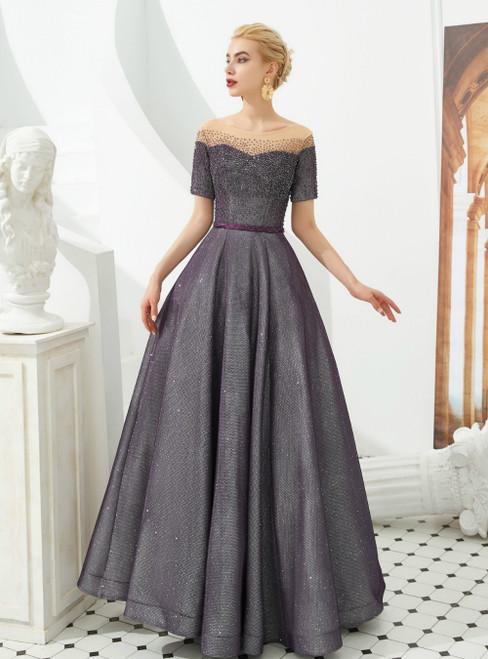 A-Line Purple Short Sleeve Beading Bateau Long Prom Dress