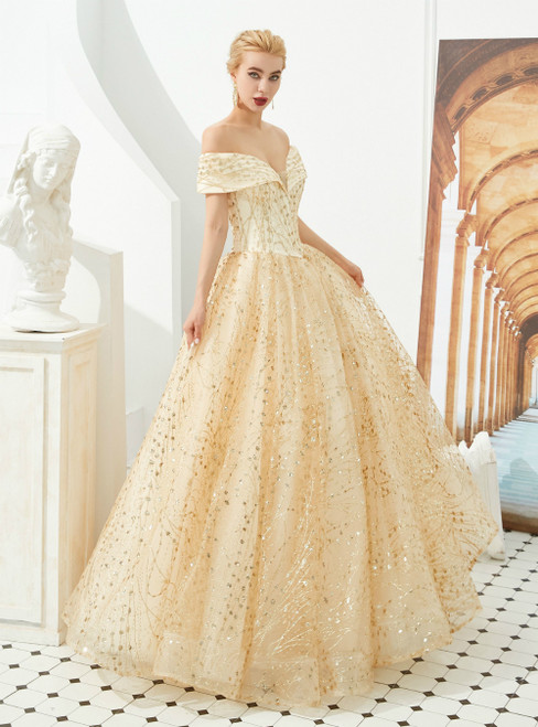 A-Line Champagne Tulle Sequins Off the Shoulder Prom Dress