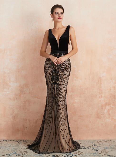 Black Mermaid V-neck Backless Sequins Long Prom Dress