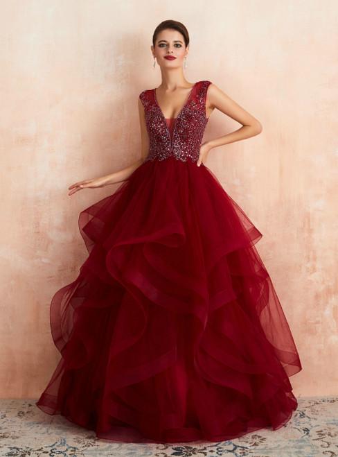 A-Line Burgundy Tulle V-neck Beading Long Prom Dress