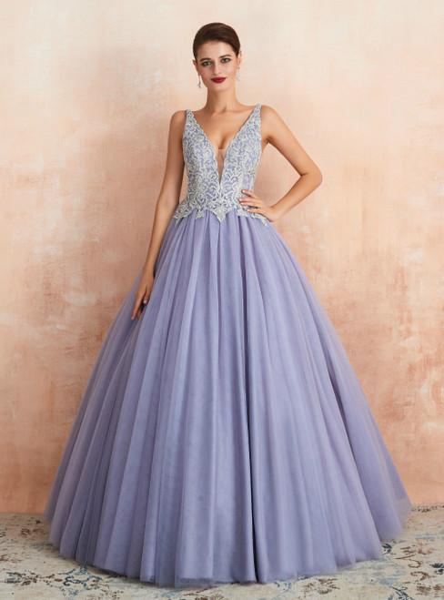 Light Purple Tulle V-neck Backless Appliques Long Prom Dress
