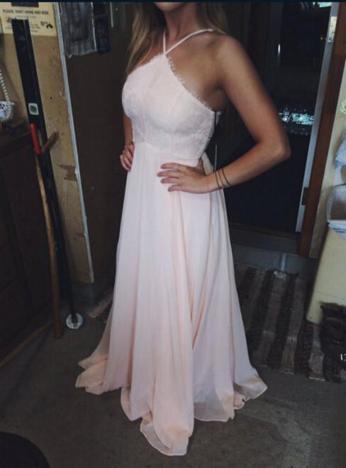 Sexy A-Line Pink Chiffon Prom Dress With Halter Neckline