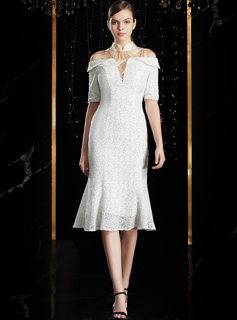 White Sheath Short Sleeve High Neck Knee Length Mother of the Bride Dress