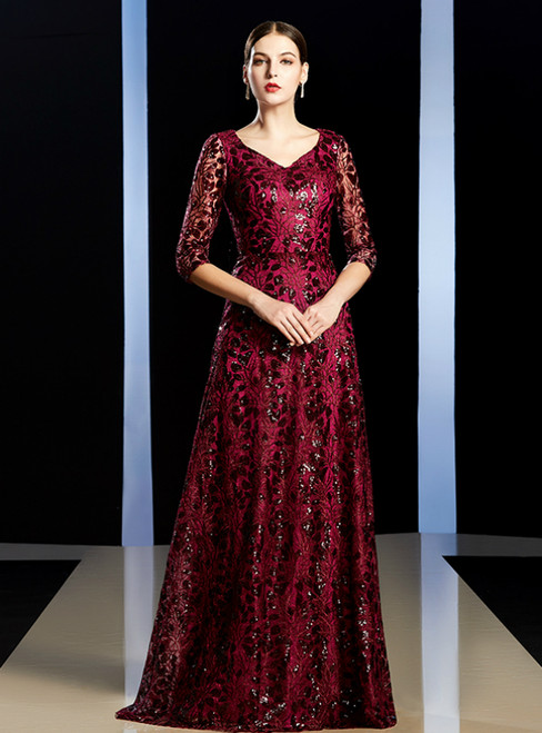 A-Line Burgundy Sequins V-neck Half Sleeve Long Mother of the Bride Dress