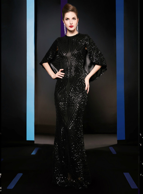Sexy Black Mermaid Sequins Long Mother of the Bride Dress