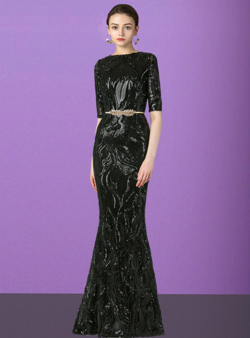 Black Mermaid Sequins Short Sleeve Long Mother of the Bride Dress With Sash