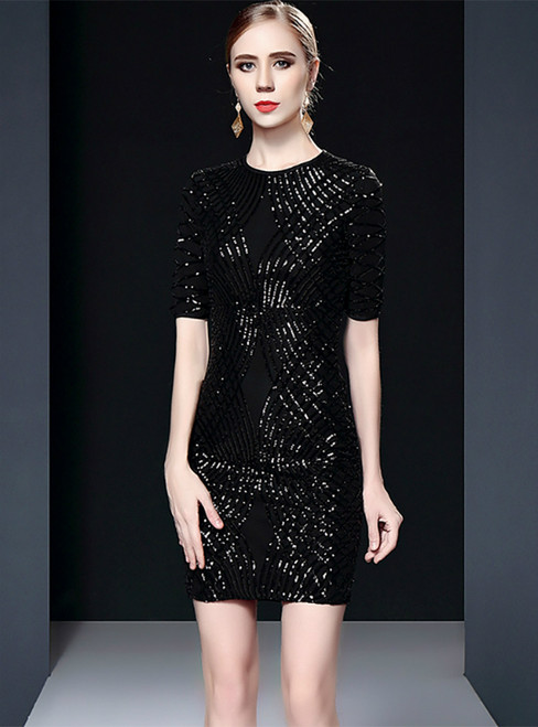 Black Sheath Sequins Short Sleeve Mini Mother of the Bride Dress