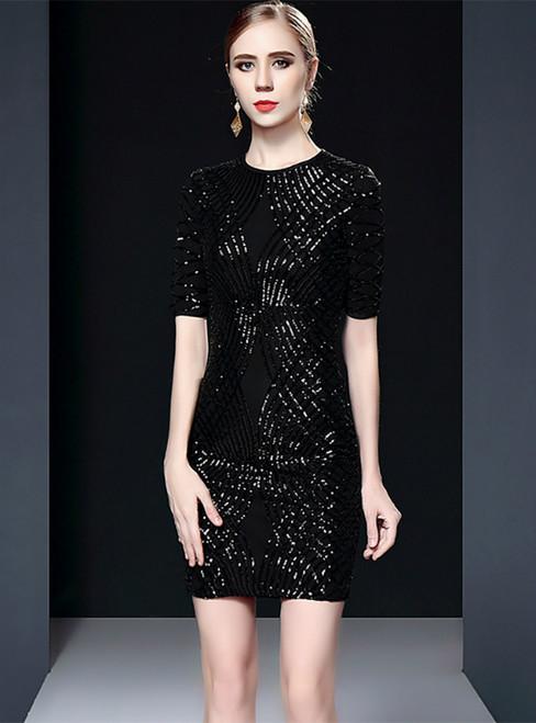 Black Sheath Sequins Short Sleeve Mini Mother of the Bride Dress