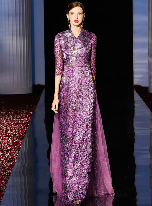 A-Line Purple Sequins Embroidery Short Sleeve Long Mother Of The Bride Dress