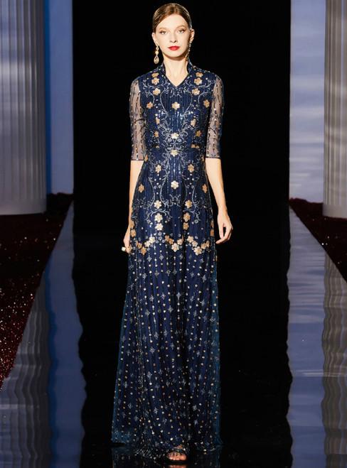 A-Line Dark Blue V-neck Half Sleeve Sequins Mother Of The Bride Dress