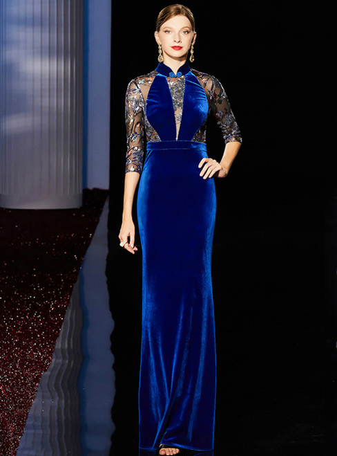 Blue Mermaid High Neck Half Sleeve Sequins Embroidery Mother Of The Bride Dress