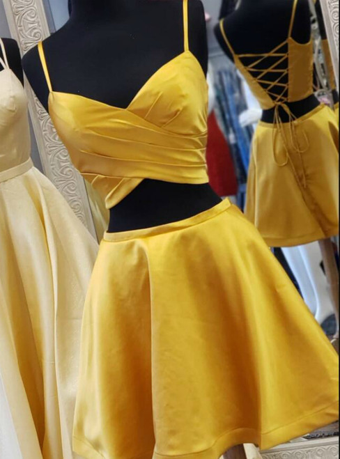 A-Line Gold Yellow Satin Two Piece Satin Spaghetti Straps Homecoming Dress