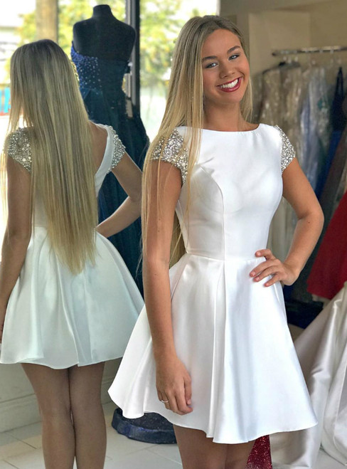 White Satin Backless Cap Sleeve Crystal Short Homecoming Dress