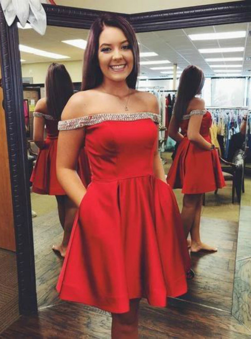 A-Line Red Satin Off the Shoulder Beading Short Homecoming Dress