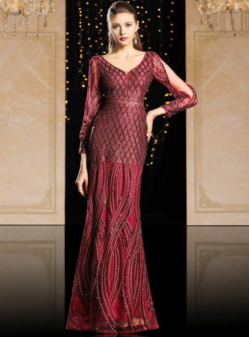 Burgundy Spandex Mermaid Long Sleeve Sequins Mother Of The Bride Dress