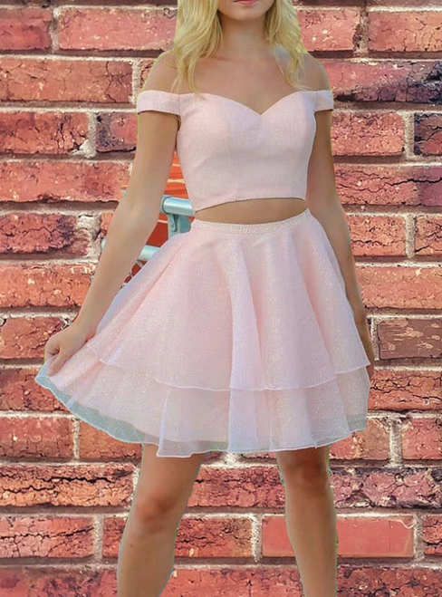 A-Line Pink Tulle Two Piece Off the Shoulder Homecoming Dress