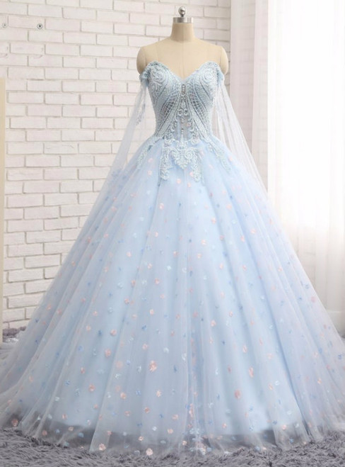 Charming Blue Ball Gown Tulle Sweetheart Quinceanera Dresses