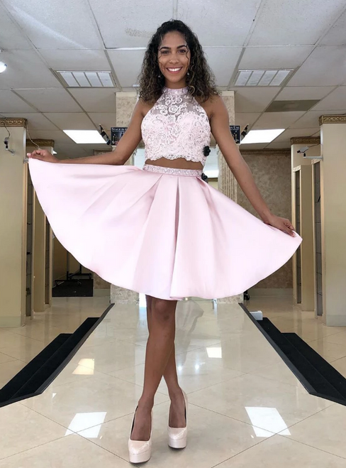 A-Line Pink Satin Two Piece Halter Appliques Backless Homecoming Dress