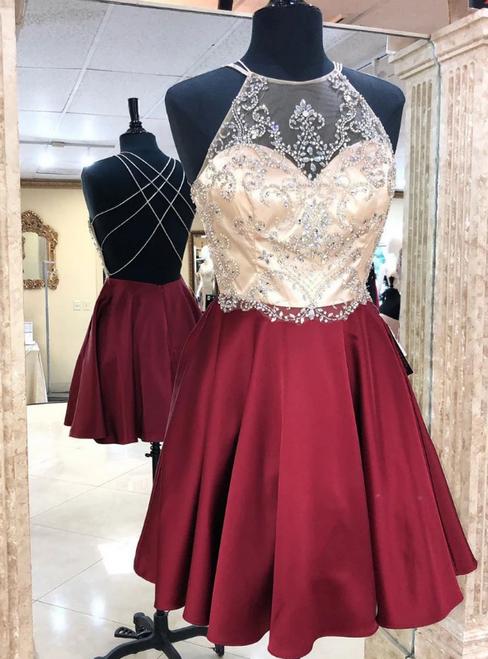 A-Line Burgundy Halter Beading Crytsal Homecoming Dress