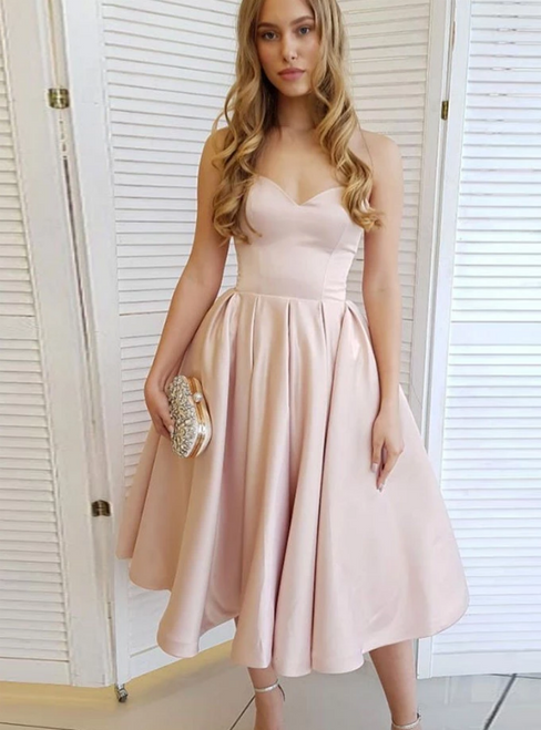 A-Line Champagne Satin Sweetheart Tea Length Homecoming Dress