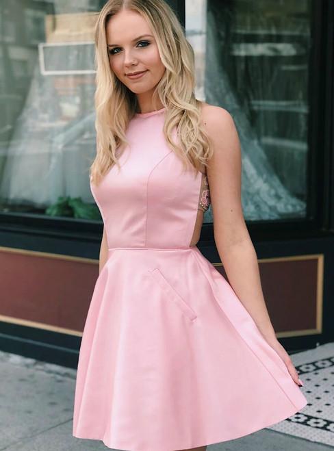 A-Line Pink Satin Sleeveless Beading Homecoming Dress With Pocket