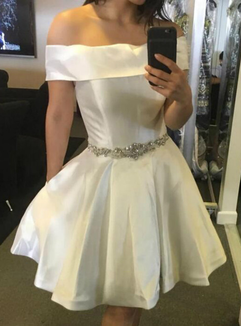 A-Line White Satin off the Shoulder Crystal Homecoming Dress With Pocket