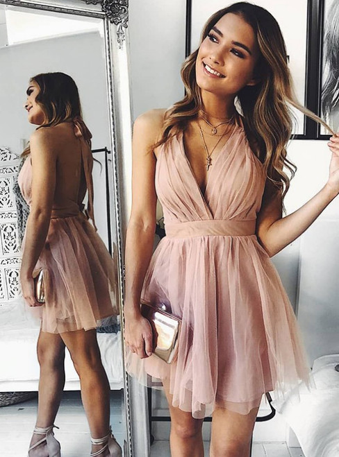 A-Line Pink Tulle Deep V-neck Backless Pleats Mini Homecoming Dress