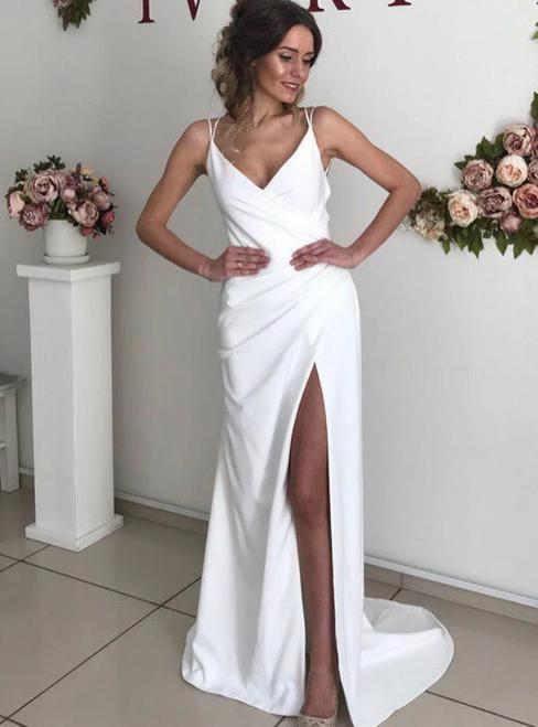 Sexy White Satin V-neck Backless Double Straps Wedding Dress With Side Split