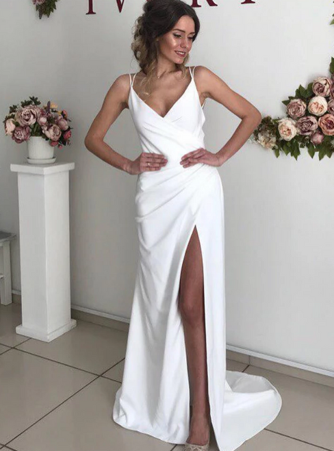Sexy White Satin V-neck Backless Double Straps Wedding Dress With Side Split