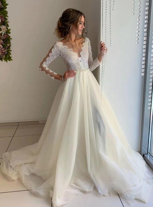 Ivory Organza Lace Long Sleeve Bateau Wedding Dress With Pearls