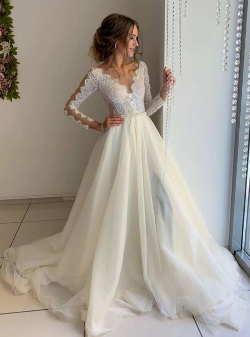 Ivory Organza Lace Long Sleeve Bateau Wedding Dress With Pearls