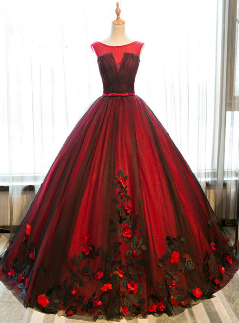 Red And Black Tulle Appliques Backless Princess Quinceanera Dresses