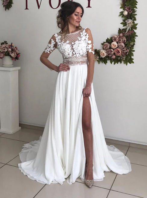 A-Line White Chiffon Long Sleeve Backless Appliques Wedding Dress