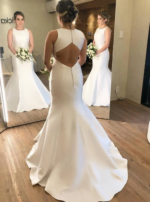 White Mermaid Satin Backless Sleeveless Long Wedding Dress