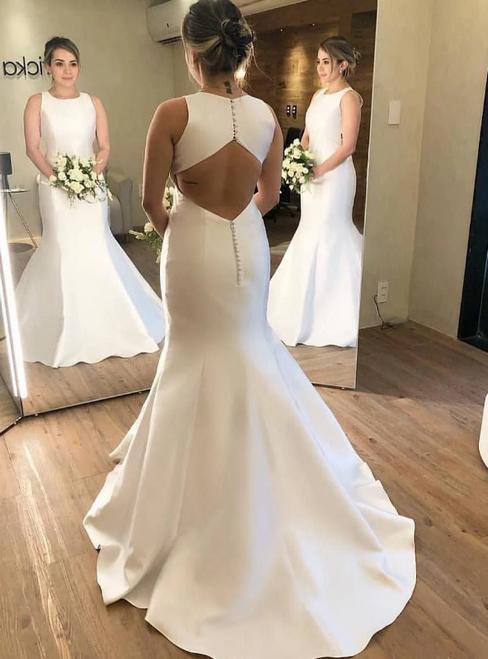 White Mermaid Satin Backless Sleeveless Long Wedding Dress