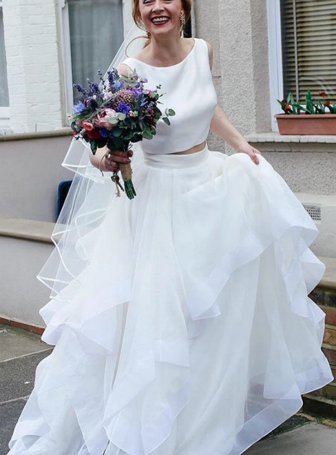 A-Line White Two Piece Satin Tulle Backless Wedding Dress