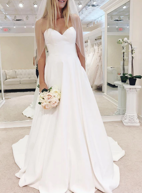 A-Line White Satin Sweetheart Wedding Dress With Pocket