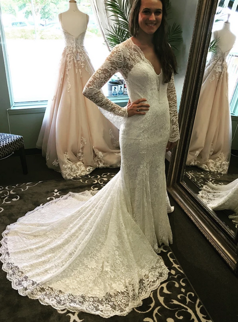 Sexy White Mermaid Lace V-neck Long Sleeve Wedding Dress