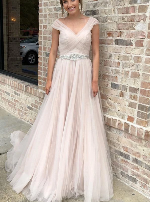 A-Line Pink Tulle Pleats V-neck Crystal Wedding Dress