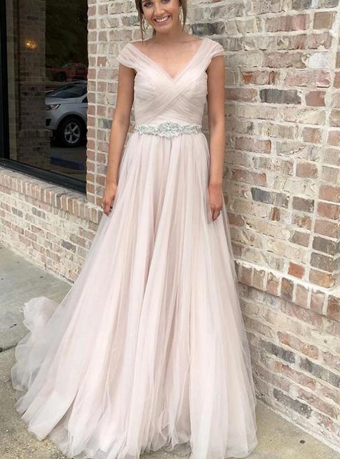 A-Line Pink Tulle Pleats V-neck Crystal Wedding Dress