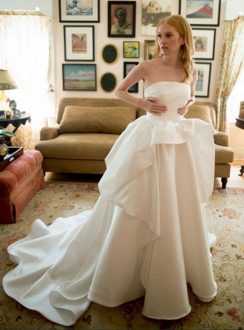 A-Line Simple White Satin Sleeveless Wedding Dress With Train