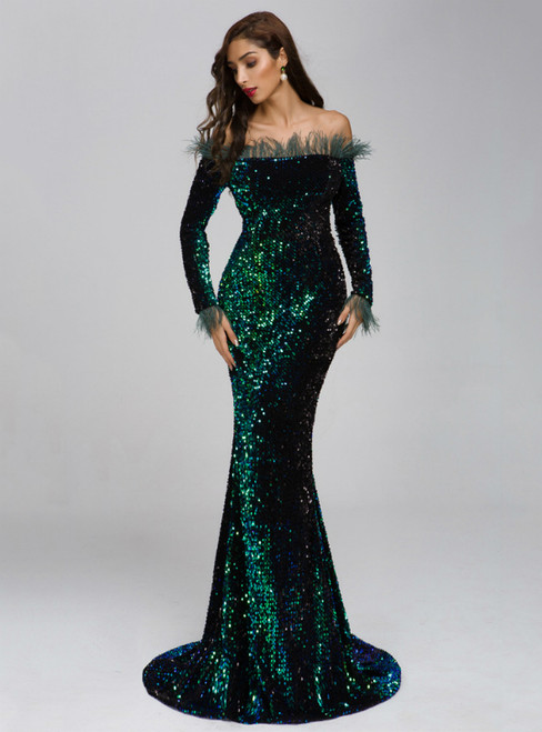 In Stock:Ship in 48 Hours Sexy Green Shoulder Feather Long Sleeve Sequined Party Dress