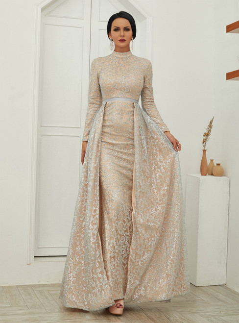 In Stock:Ship in 48 Hours Silver Sequins Long Sleeve Party Dress