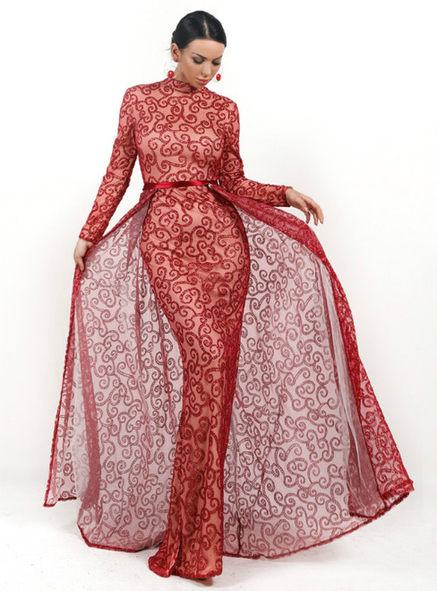 In Stock:Ship in 48 Hours Red Sequins Long Sleeve Party Dress