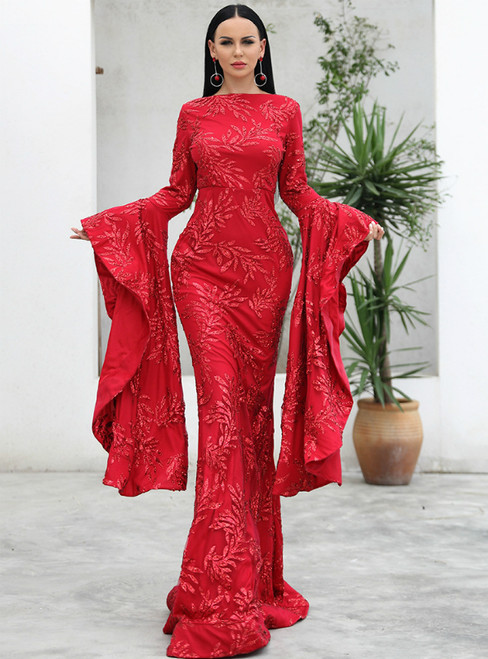 In Stock:Ship in 48 Hours Red Mermaid Horn Sleeve Party Mop Evening Dress Skirt