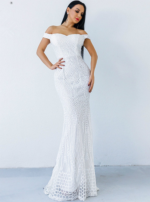 In Stock:Ship in 48 Hours White Mermaid Sequins Off the Shoulder Party Dress