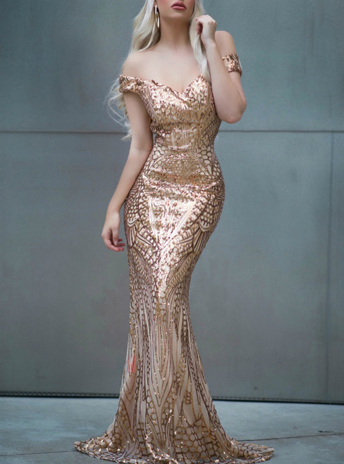 In Stock:Ship in 48 Hours Gold Mermaid Sequins Off the Shoulder Party Dress