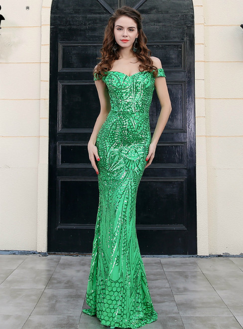 In Stock:Ship in 48 Hours Green Mermaid Sequins Off the Shoulder Party Dress