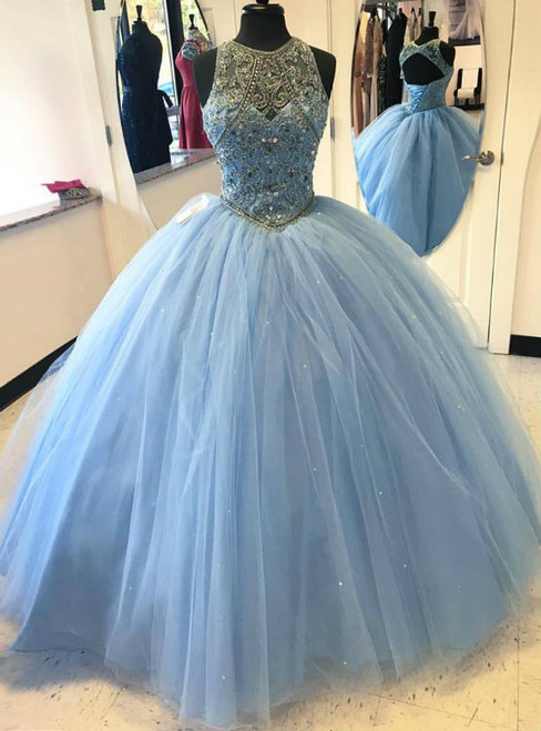 Blue Ball Gown Tulle Beaded Halter Backless Sweet 16 Prom Dress